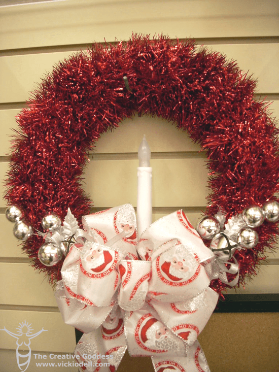 Vintage inspired tinsel wreath for christmas decorations