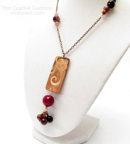Etched Copper and Agate Necklace