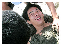 Raf being burried under the sand