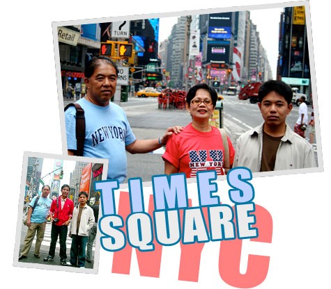 family at Times Square