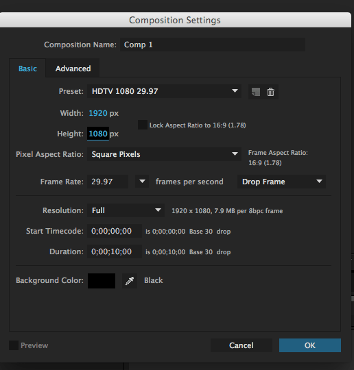 after effects composition settings window