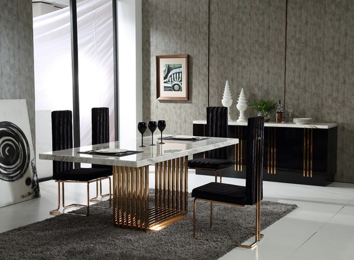 modrest kingsley modern marble rosegold dining table contemporary kitchen tables Modrest Kingsley Modern Marble Rosegold Dining Table