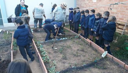 Prop de 300 xiquets d'una desena de col·legis aprenen el necessari per a tenir el seu propi hort escolar