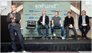 KPCB partner John Doerr, Amazon.com founder and CEO Jeff Bezos, Facebook CEO Mark Zuckerberg, Zynga CEO Mark Pincus, and KPCB partner Bing Gordon (l-r) announcing the sFund in Palo Alto. Photo: Business Wire