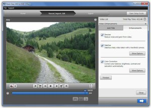 Stabilize shaky video, remove background noise and correct colors