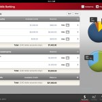 CIBC Mobile Banking App for iPad: Accounts page view with interactive pie charts