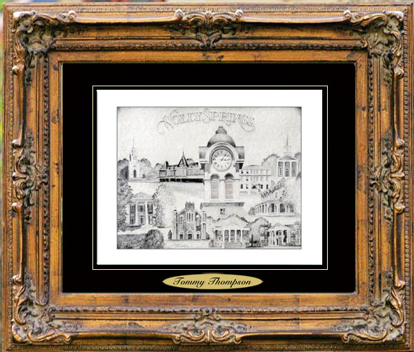 Pencil Drawing of Holly Springs, MS