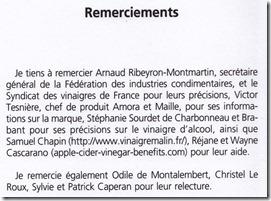 Les bienfaits du vinaigre - Samuel Chapin et Vinaigremalin.fr dans les remerciements de Régine Quéva