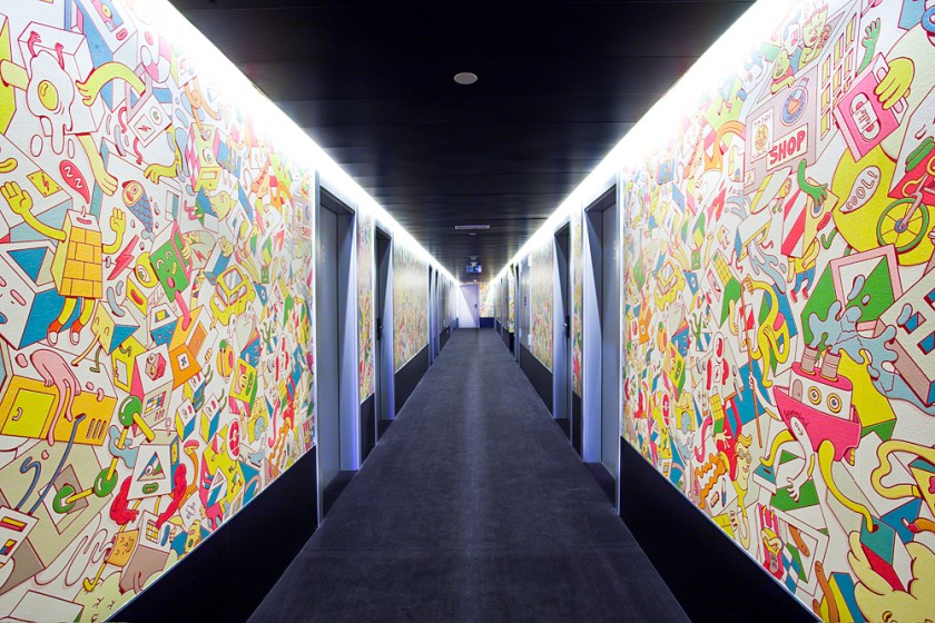 Corridors in the hotel Vincci Bit 4* Barcelona.