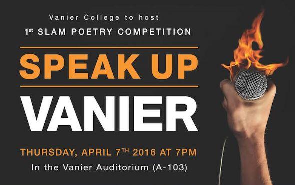 Slam Poetry Contest – Speak Up Vanier!