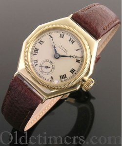 1920s 18ct gold octagonal vintage Rolex Oyster watch (3465)
