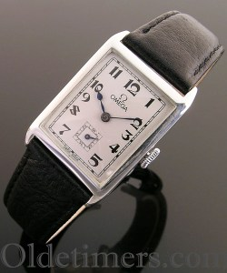 1920s silver rectangular vintage Omega watch (3731)