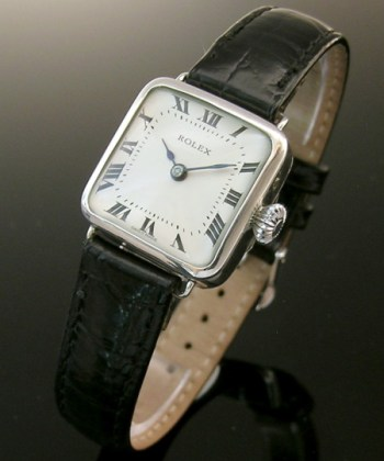 1913 square silver vintage ladies Rolex watch