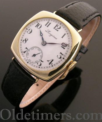 1920s 18ct gold cushion vintage Longines watch