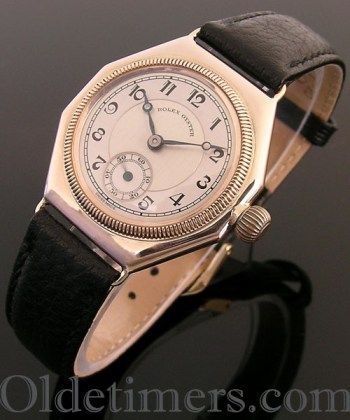 1920s rose gold octagonal vintage Rolex Oyster watch