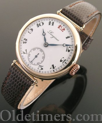 1920s 9ct rose gold round vintage Longines watch