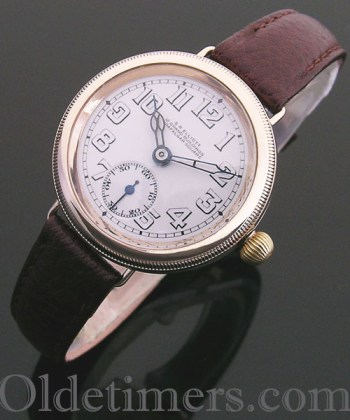 1920s 9ct gold round vintage S R Elliott watch
