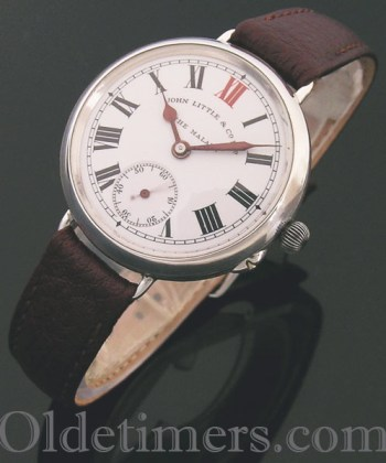 1911 round silver vintage 'Officers' watch