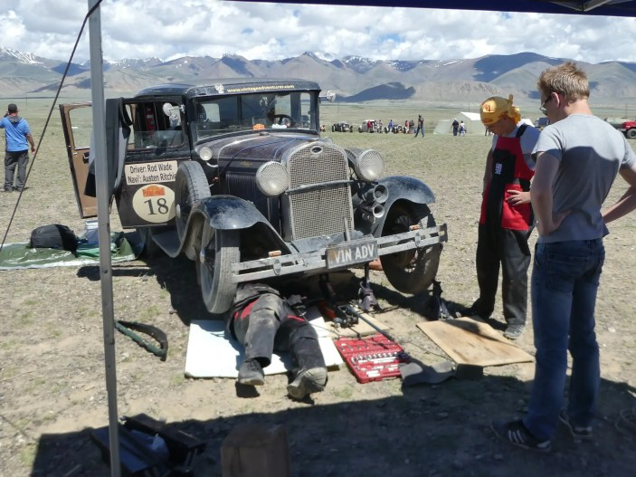 Fixing the axle in Mongolia