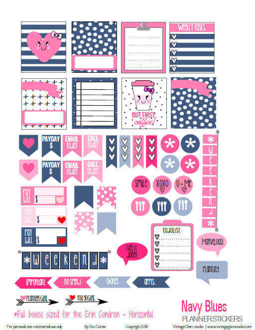Navy Blues Planner Stickers | Free printable, for personal use only
