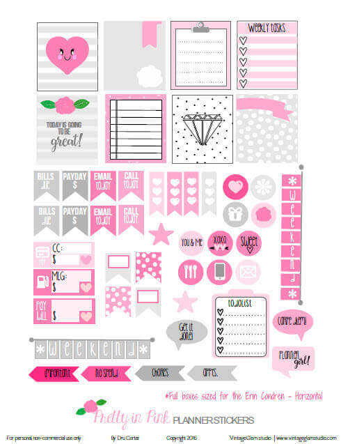 Pretty in Pink Planner Stickers | Free planner printable, for personal use only