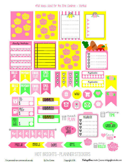 Hot Brights Planner Stickers preview