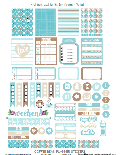 Coffee Bean Planner Stickers | free printable, for personal use only