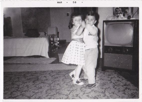 1950s children dancing vintage image