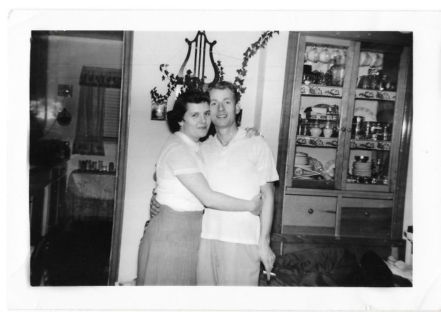 1950s vintage couple in love in house
