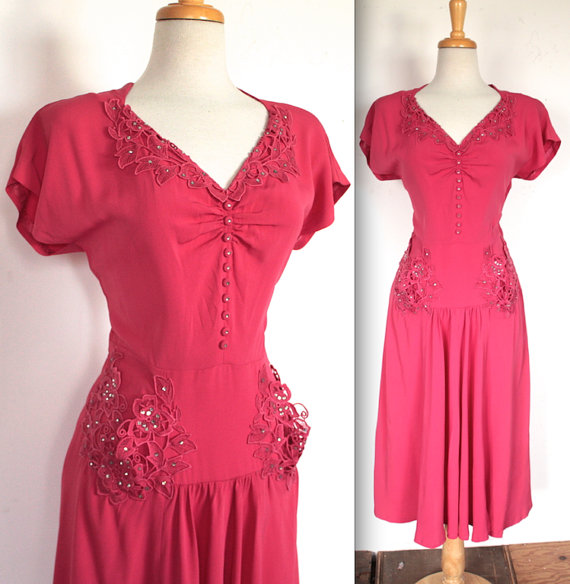Vintage 1940's Dress // 30s 40s Hot Pink Bombshell Rayon Dress with Rhinestone Studded Appliqués
