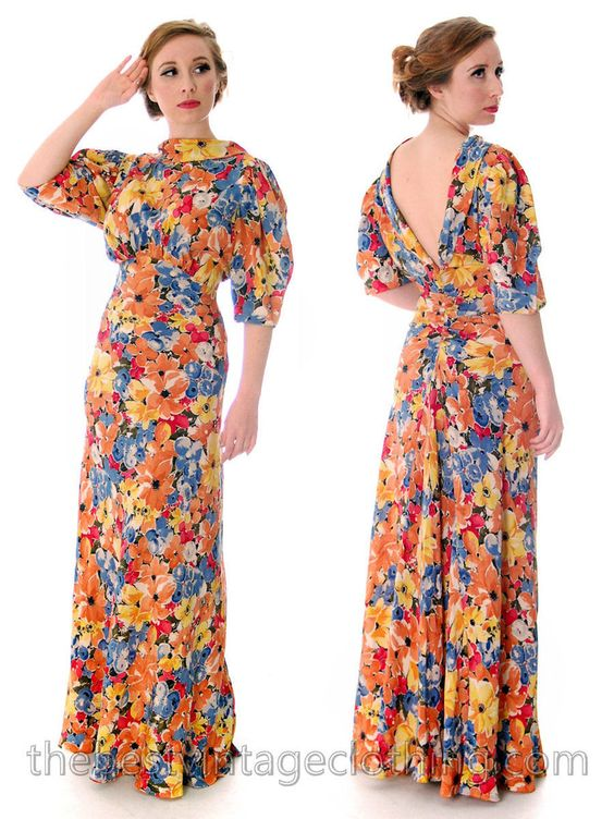 Vintage 1930s Bias Cut Floral Silk Gown Backless Maxi Dress