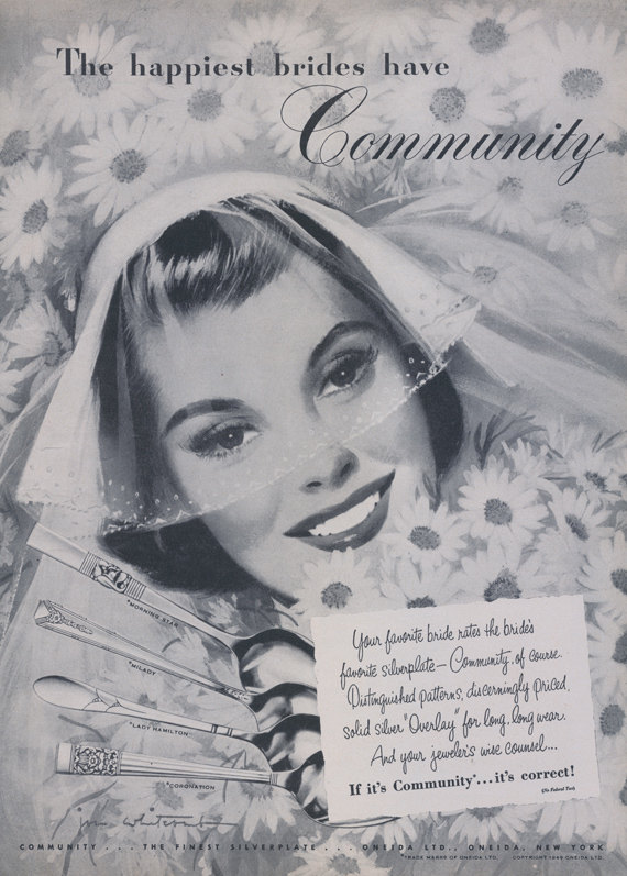1949 Community Silverplate Silverware Ad 40s Bride Illustration