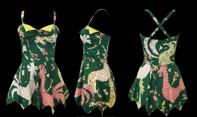 1950s Novelty Rooster Print Artist Textile Catalina Swimsuit Bathing Suit