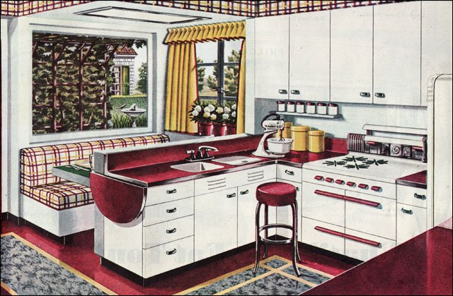 1945 kitchen design with linoleum floors