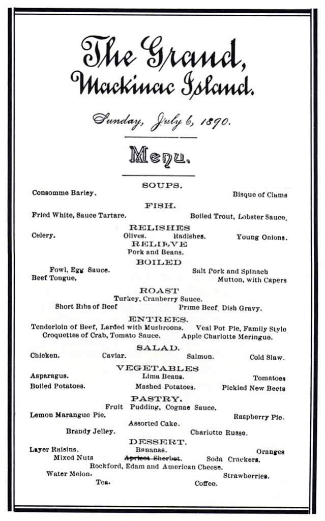 Grand Hotel Menu 1890 Mackinac Island