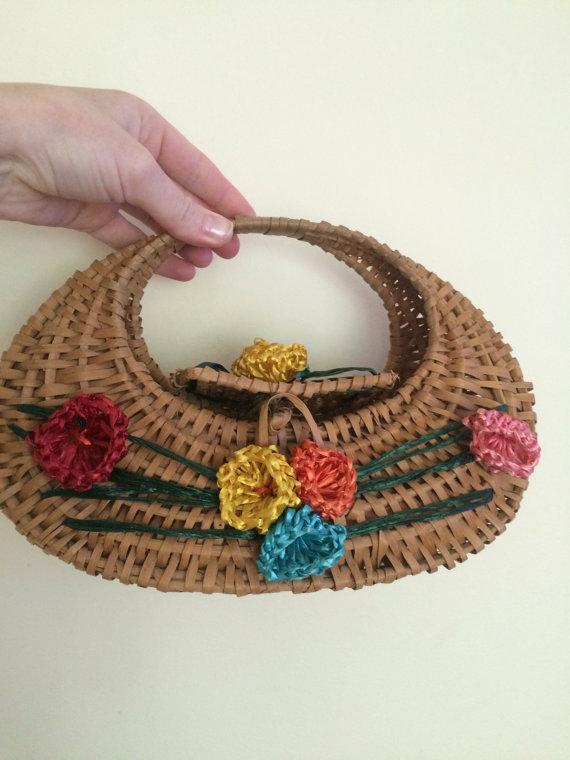 Wicker woven hawaiian 1950's bag