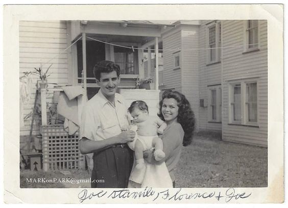 1940s Vintage Image of husband and wife with baby