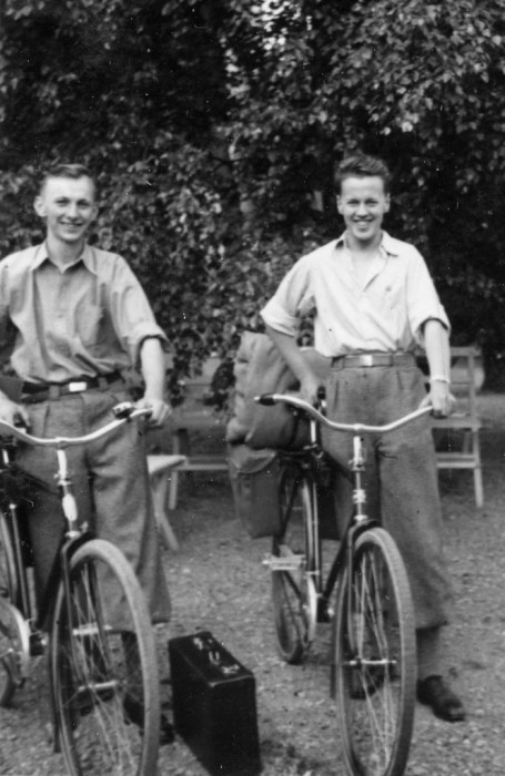 1930s teenage young men on bikes vintage image