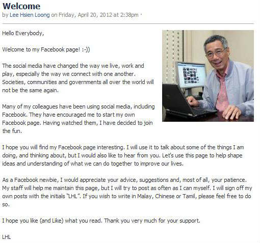 PM Lee Facebook notes