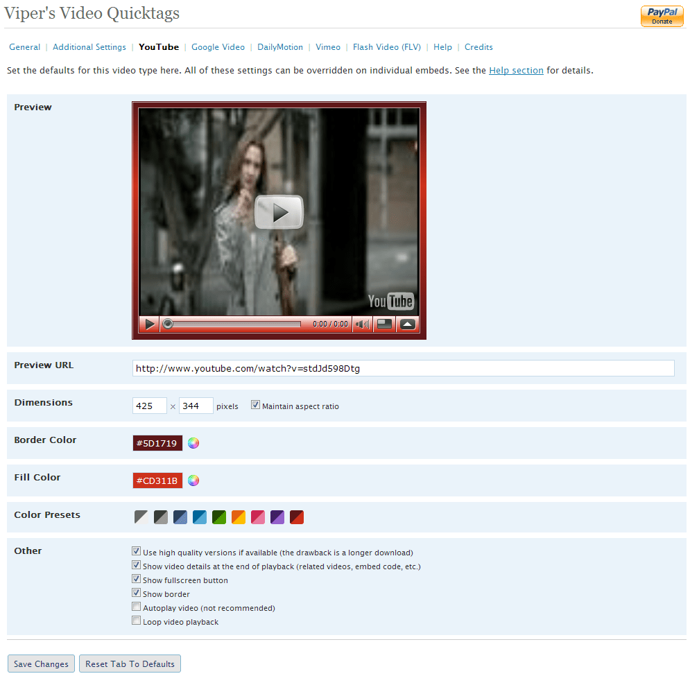 YouTube configuration page