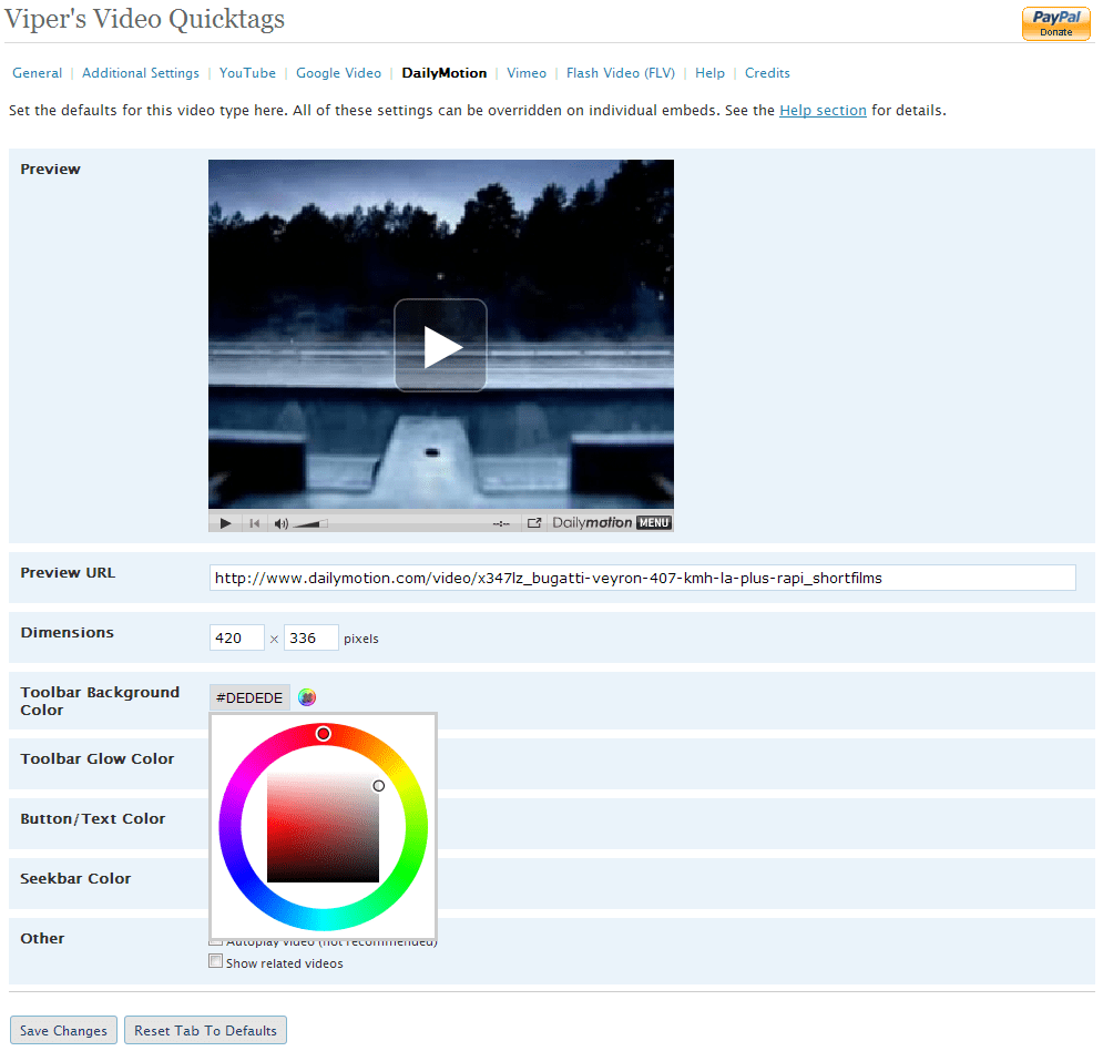 DailyMotion configuration page with Farbtastic color picker showing