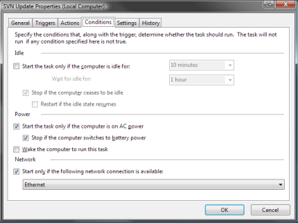 Conditions: When do you want it to run? I want it to run even when I'm on my PC.