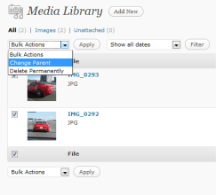 "Check the images you want and select ""Change Parent"" from the ""Bulk Actions"" dropdown"