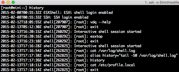 how to find shell command hisotry