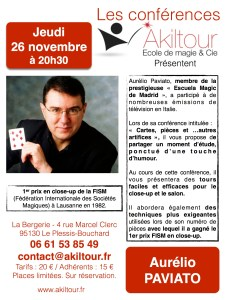 Conférence d'Aurélio PAVIATO (95) @ Ecole de magie Akiltour