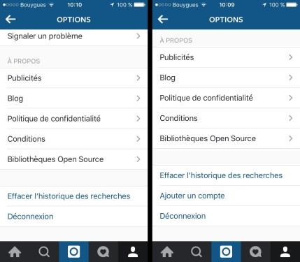 Les préférences d'Instagram, avant et après l'apparition de cette nouvelle fonction.