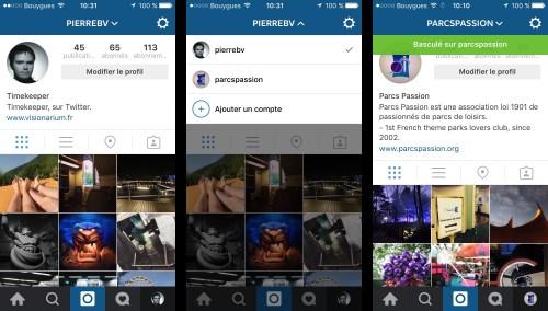 Changement de compte Instagram en deux touches sur l'écran.