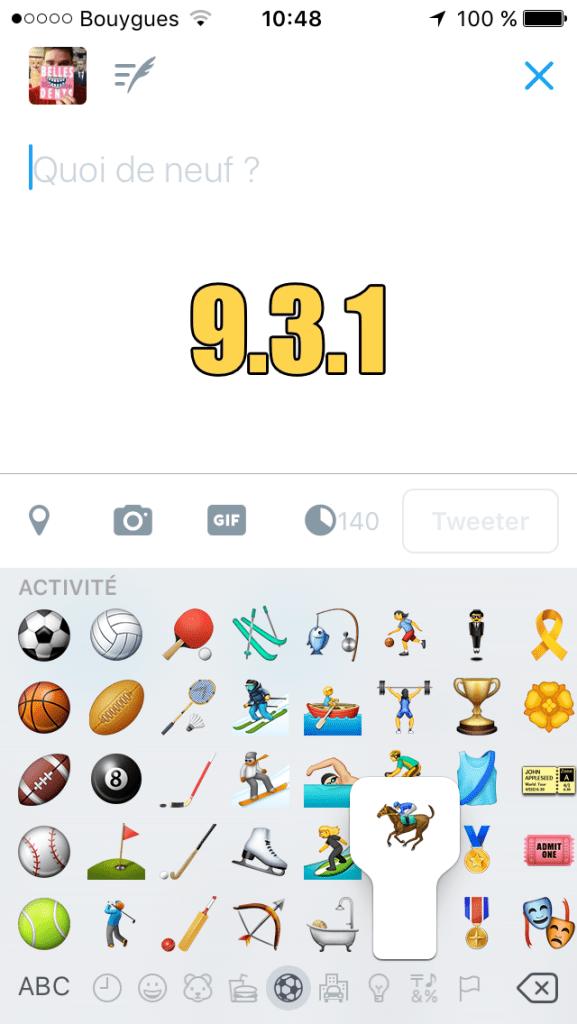 Le cavalier sous iOS 9.3.1