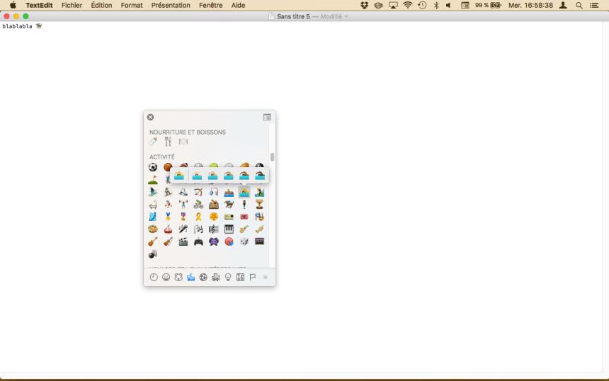 Choisir la couleur de peau de l'emoji nageur sur Mac.