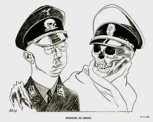 Himmler og døden – tegning av Elias Blix fra 1945.